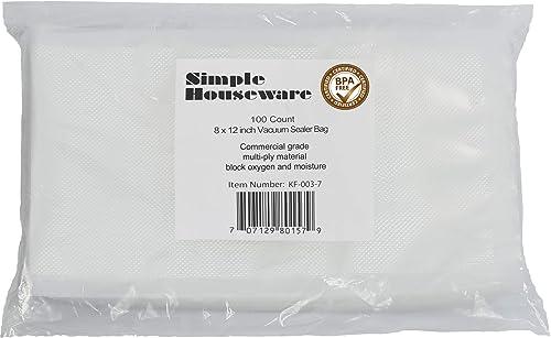 """2021 100 Count - Precut Food Vacuum Sealer Bags Storage,Quart Size 8"""" new arrival wholesale x 12"""" sale"""
