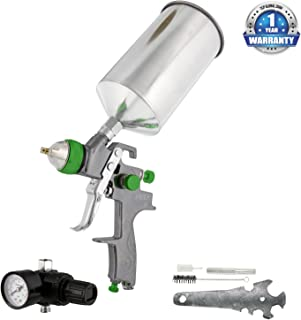 TCP Global Brand Professional New 2.5mm Hvlp Spray Gun- Great for High Build Auto Paint Primer - Metal Flake Application and Any Heavy Bodied Paint or Primer Material -with Air Regulator