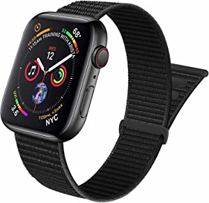 Aipeariful Nylon Solo Loop Compatible with Apple Watch Band 38mm 40mm 41mm 42mm 44mm 45mm,Women Men Adjustable Sport Braided Strap for iWatch Series SE/7/6/5/4/3/2/1,Dark Black,42/44/45mm