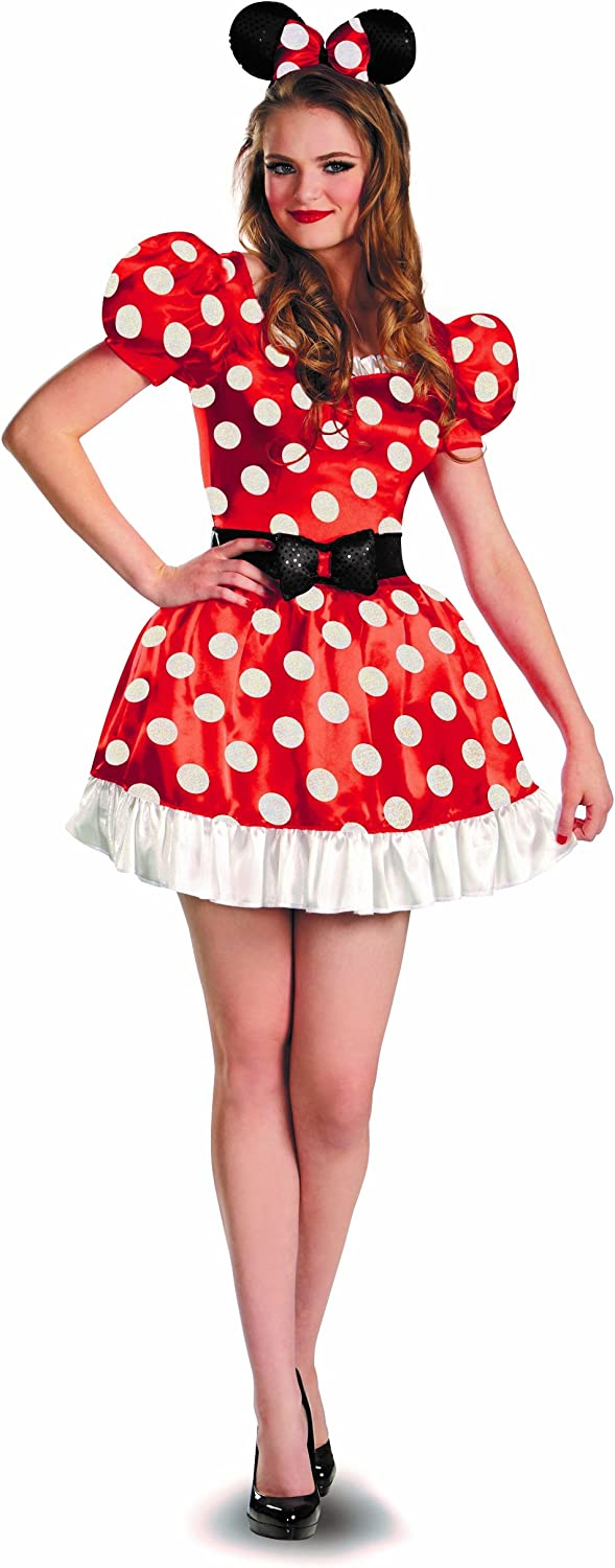 Minnie Mouse Costume, Womens Classic Disney Outfit Red, Medium, (USA 8  10), BUST 35  37 , WAIST 27  29