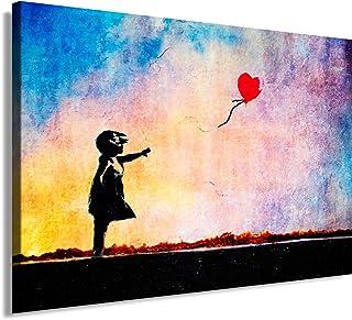 Banksy Impression sur toile 100 x 70 cm Motif graffiti/Street Art Impression sur châssis