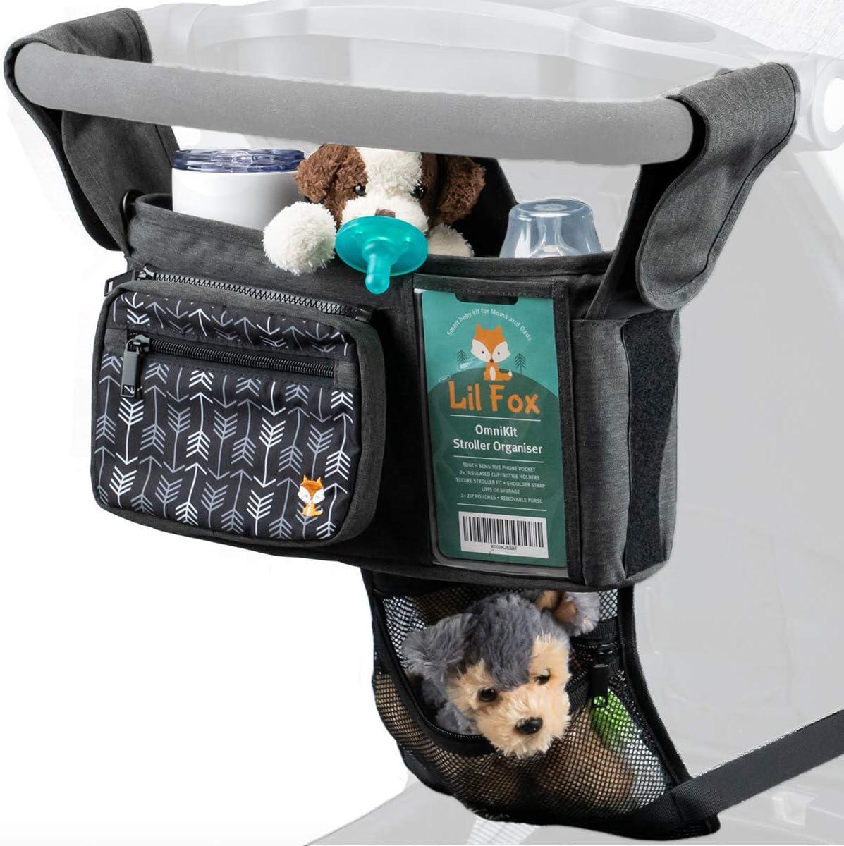 OmniKit Baby Stroller Organizer with LARGE Smart Phone Holder by Lil Fox. Stroller Bag Bottle and Stroller Cup Holder, Stroller Caddy for Baby Things. Stroller Accessories, Unisex Baby Shower Gifts