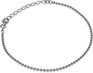 Romantico Casanova New Yorker Bead Chain Bracciale (Argento) 2 mm Donna in Argento 925 - Made in Italy - BEAD CHAIN Regalo...