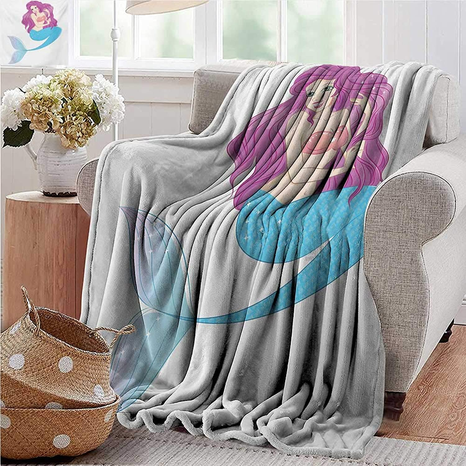 PearlRolan Velvet Touch Ultra Plush,Mermaid,Cute Mermaid Playing with Her Hair Folk Mythical Character Princess,Turquoise Fuscia White,300GSM,Super Soft and Warm,Durable Throw Blanket 50 x60