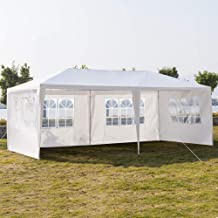 SSLine White 10x20 ft Outdoor Waterproof Canopy Tent for Party Wedding Heavy Duty Patio Garden Gazebo Pavilion with Windows and Removable Sidewalls(4-Side Wall)