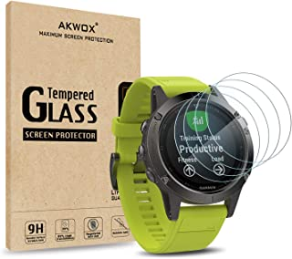 AKWOX (Pack of 4) Tempered Glass Screen Protector for Garmin Fenix 5, [0.3mm 2.5D High Definition 9H] Premium Clear Screen...