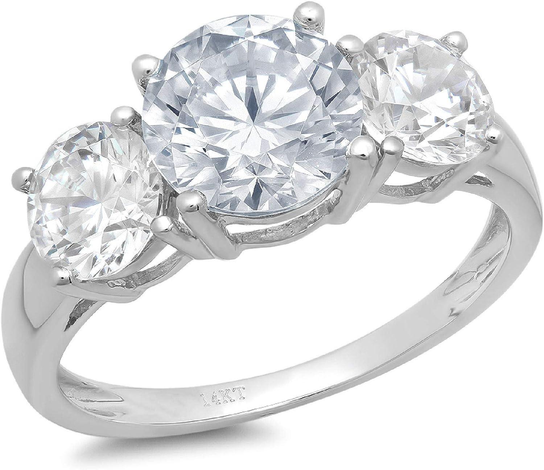 3.25 ct Brilliant Round Cut Solitaire 3 stone Genuine Flawless Natural Aquamarine Gemstone Engagement Promise Statement Anniversary Bridal Wedding Ring Solid 18K White Gold