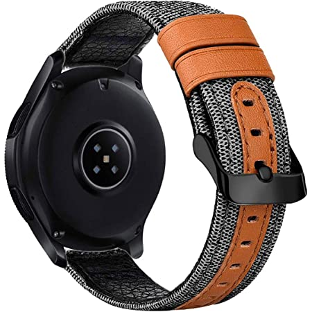 iBazal Bracelets Galaxy Watch 46mm Toile Tissu Canevas 22mm Bande Compatible avec Samsung Galaxy Watch 3 45mm/Gear S3 Frontier Classic Band Remplacement pour Huawei Watch GT,Ticwatch Pro/E2/S2 - Gris