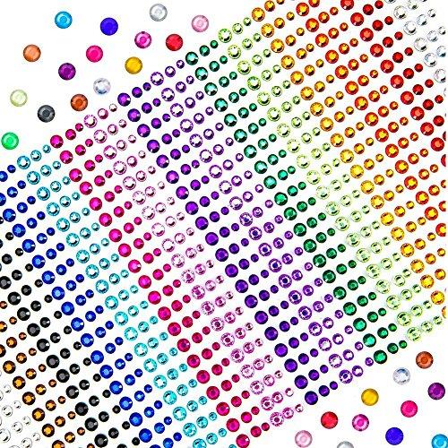 TOAOB 900 Stück Strass Sticker Selbstklebend Bunt Acryl Glitzersteine 3mm 4mm 5mm für DIY Handwerk Bilderrahmen Verzieren