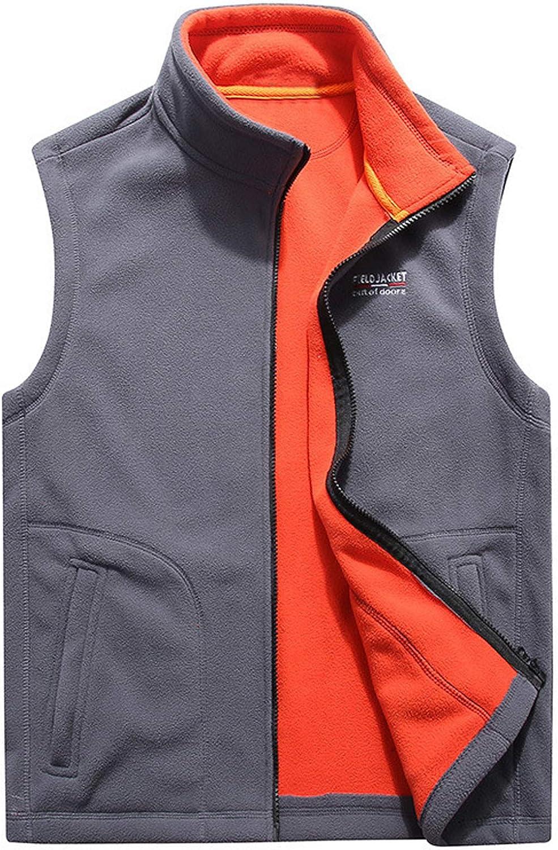 Flygo Men's Polar Fleece Vest Mountain Full Zip Up Lightweight Outdoor Work Jacket