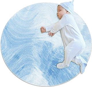 Blå grå abstrakt, barn rund matta polyester överkast matta mjuk pedagogisk tvättbar matta barnkammare tipi tält lekmatta