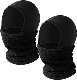2 Pieces Kids Balaclava Ski Face Covering Fleece Neck Gaiters Winter Scarf Under Helmets for Boys Girls Juniors Youth Black