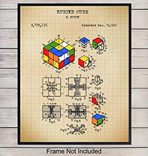 Rubiks Cube Puzzle Patent Art Print - Vintage Wall Art Poster - Chic Rustic Home Decor for Kid, Teens Room, Family or Game Room, Living Room, Den, Office, Dorm - Gift for Nerds, Gamers, 8x10 Unframed