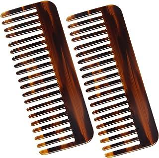 Bred tandkam grovfärgad hårkam bred tandhårkam lockkam cellulosa grov kam för lockar långt eller vått hår, 2 stycken (brun)