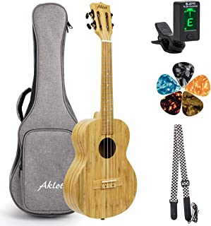 AKLOT Concert Ukulele All Solid Bamboo Ukelele 23 inch AKBC23 18 frets 18:1 Advanced Tuner Machine w/Gig Bag Strap Picks Tuner String