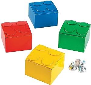 Fun Express Color Brick Party Favor Boxes Lot of 12 Treat Boxes Building Block
