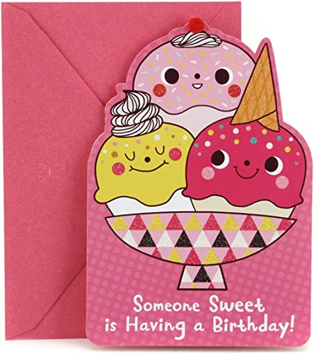 Hallmark Birthday Card for Kids (Ice Cream and Stars Stickers)