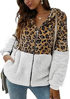 SCORP Women's Leopard Printed Drawstring Fuzzy Hooded Zipper Jacket Coat