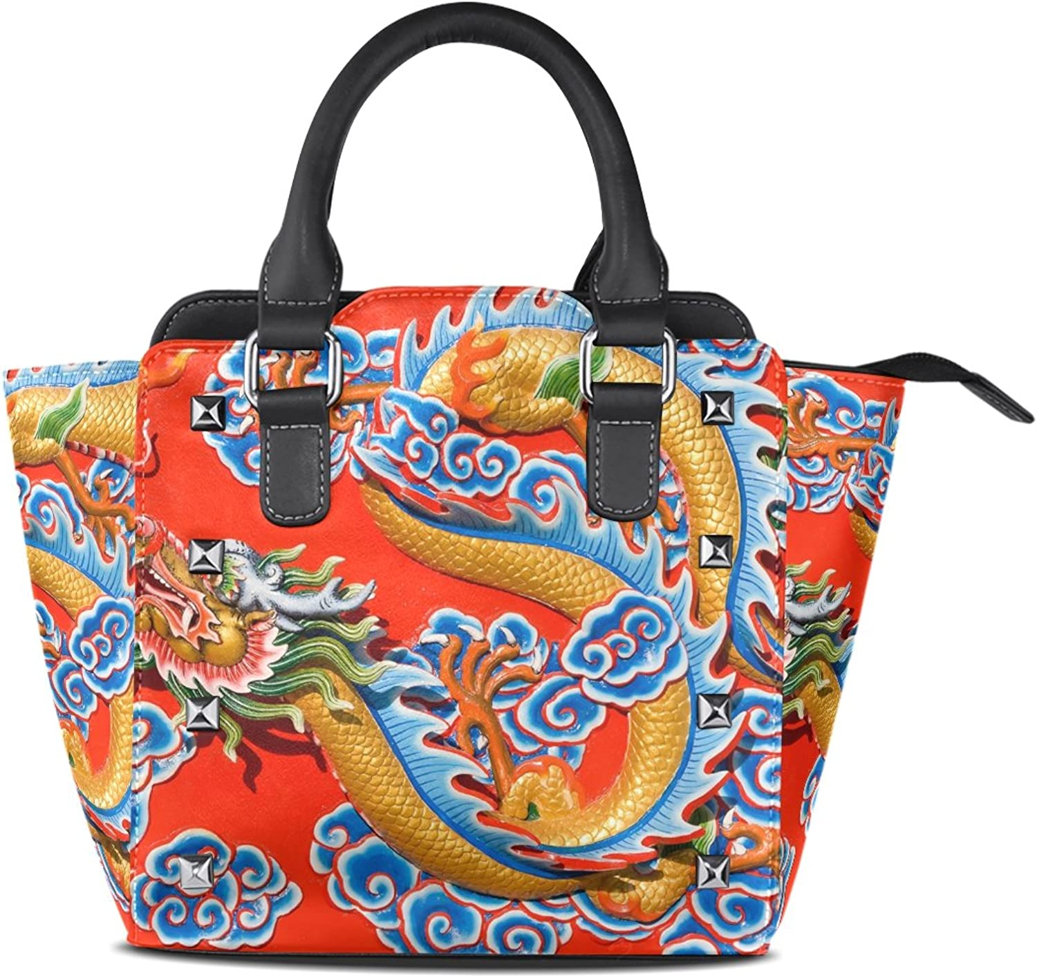 Sunlome Dragon Statue Print Handbags Women's PU Leather Top-Handle Shoulder Bags