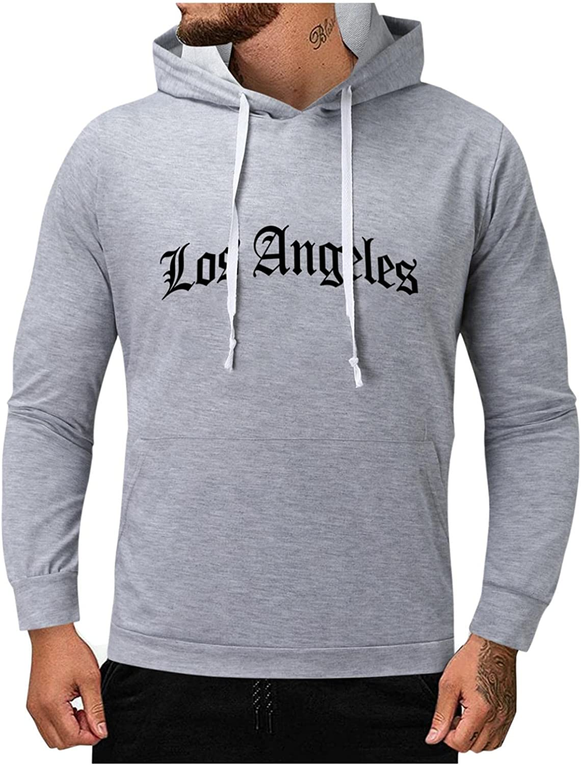 Qsctys Men's Casual Lightweight Pullover Hoodies Long Sleeve Hooded Sweatshirts Fashion Letter Print Slim Fit Men's Clothing