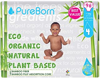 PureBorn Size 4 Disposable Diapers Pack, 7 to 12 kg, 96 Count - Assorted Prints