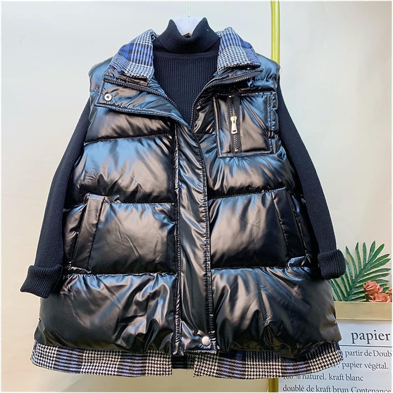 ZZRR ZHOURUIJPN Cotton Waterproof Vest Loose Vest Jacket Cotton Quilted Jacket Sleeveless Women (Color : Black, Size : L)