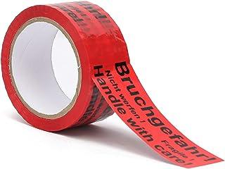 Klebeband| Packband| Paketband mit Hinweis auf Tape Bruchgefahr - Achtung nicht werfen - Vorsicht zerbrechlich Glas - handle with care – Fragile 1
