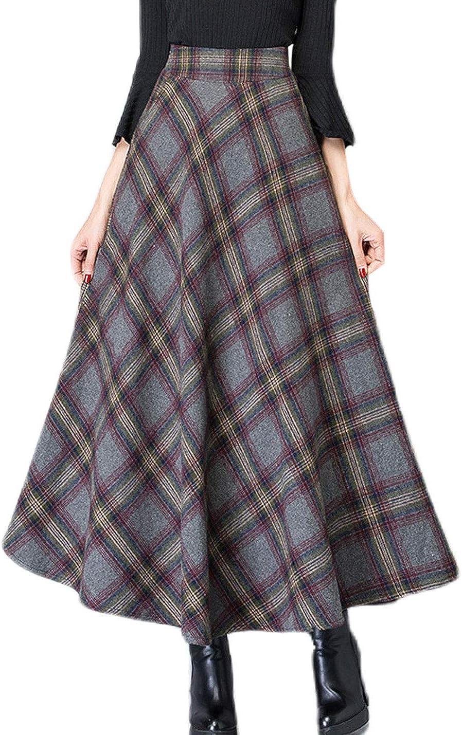 Lentta Womens Casual High Waist Pleated Flare Tartan Long Maxi A-Line Wool Skirts