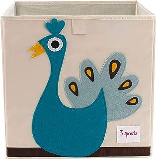 3 Sprouts - Boîte de rangement cubique - Conteneur de rangement pour enfants et jeunes enfants, Paon