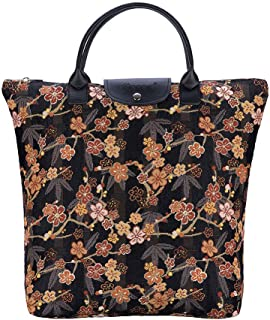 Signare Tapestry Foldable Tote Bag Reusable Shopping Bag Grocery Bag with Ume Sakura Design Japanese Style