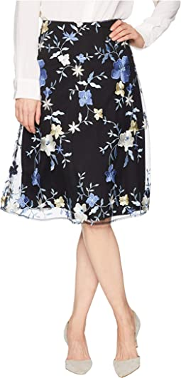Embroidered Floral Midi Skirt