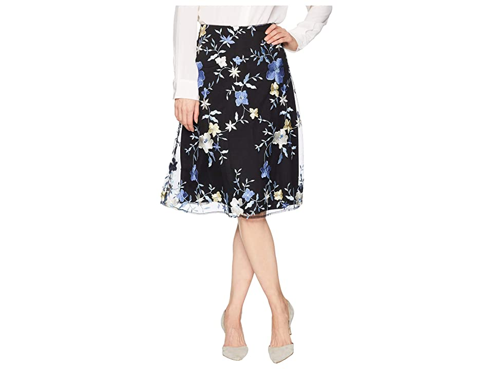 eci Embroidered Floral Midi Skirt (Black/Blue) Women