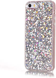 IKASEFU Shiny Bling Glitter Sparkle Luxury Clear Transparent Soft Flexible TPU Silicone Rubber Bumper Protective Cute Ultra Slim Case Cover Compatible with iPhone 5S/SE,Silver