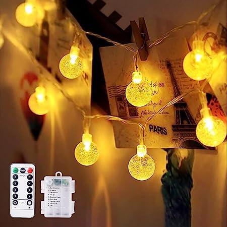 TOPYIYI Guirlande lumineuse, 10M 80 LED Guirlande lumineuse boules, IP65 Etanche guirlande lumineuse exterieur pile sapin decoration Intérieur pour chambre Noël Jardin Gazebo Patio(Blanc chaud)