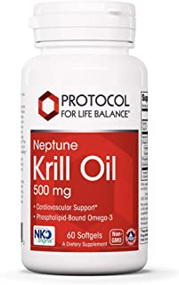 Protocol For Life Balance - Neptune Krill Oil 500 mg - EPA, DHA, High for Cardiovascular, Immune, and Joint Support, Conta...