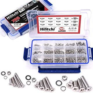 Hilitchi 705-Pcs M3 M4 M5 Phillips Flat Head Machine Screws Bolts Nuts Flat and Lock Washers Assortment Kit, 304 Stainless Steel, 8 to 20mm Length, Full Thread