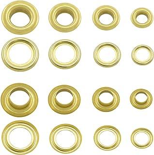 GETMORE Parts Ösen mit Gegenscheiben, Messing-Ösen, Metallöse, Rundöse mit Scheibe, Messing, rostfrei - 100 Stück, Gold, 6 mm