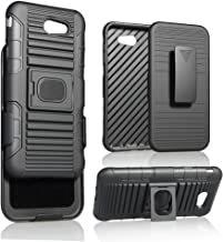 Galaxy J7 2017 Case, Customerfirst, BLACK RING GRIP CASE COVER + BELT CLIP HOLSTER STAND FOR SAMSUNG GALAXY J7 PERX/SKY PRO/J7V, J7 2017, J7 PRIME 2017, SM-J727 (Black)