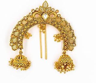 إكسسوارات الشعر الهندية التقليدية للنساء من أكارشانا جيوليز، مقاس متوسط ذهبي