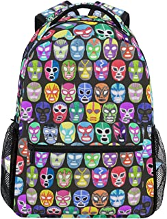 YCHY Luchador Fighter Mask Set Seamless Pattern Lightweight School Backpack Students College Bag Travel Hiking Camping Bags