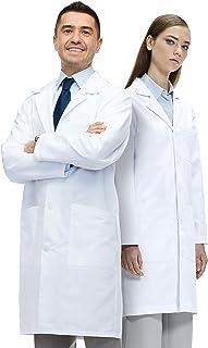 CHICTRY Damen Kittel,Laborkittel S-XXXL Wei/ßer Mantel mit V-Schnitt Geeignet f/ür Krankenschwester Studenten Gr Wissenschaftslabor Arztkittel