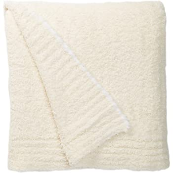 Barefoot Dreams Contrast Trim Throw Blanket 45 x 60 Cream & White
