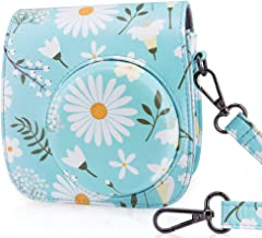 WOLVEN Protective Case Bag Purse Compatible The Fugifilm Mini 9 / Mini 8 / Mini 8+ Instant Camera, Blue Flower Floral