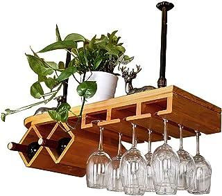 ZJDM Organiser Les casiers à vin Suspendus montés au Plafond de Cuisine pour Bar/pub/Cuisine Armoires à Bouteilles de vin ...