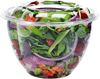DOBI [50 Pack - 48 oz.] Salad Bowls with Airtight Lids - Large Clear Plastic Disposable Salad Containers with Lids