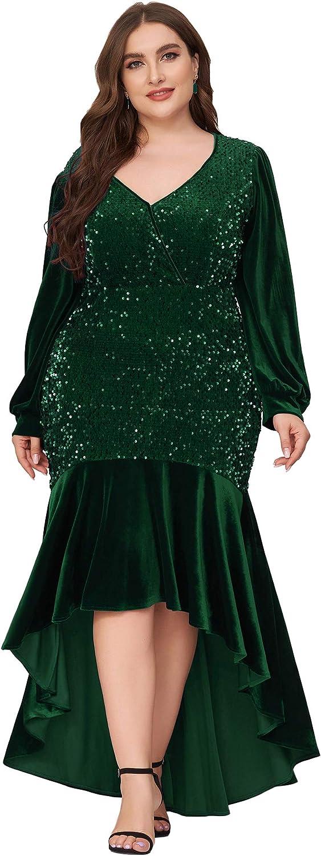Ever-Pretty Women's Plus Size V Neck 2021 new Velvet Sequin Long M Colorado Springs Mall Sleeve