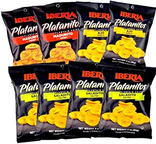 Sponsored Ad - Iberia Plantain Chips Variety Pack 3 oz (Pack Of 8) 4 Lightly Salted, 2 Naturally Sweet, 2 Garlic Plantain ...