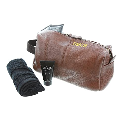 b3577e50e0aa Towelsrus Personalised Men's Faux leather Zipped Wash Bag and Black Flannel