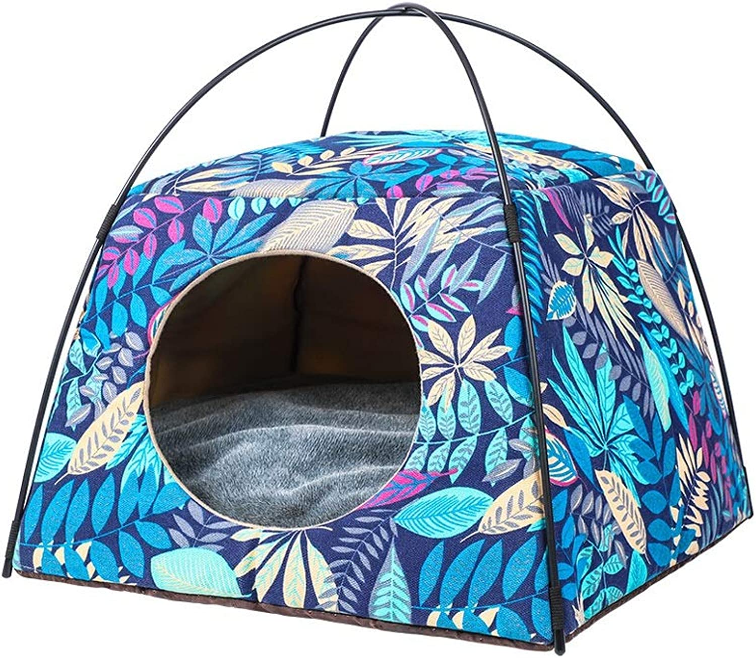 Kennel, Winter Warm Comfortable Cat Litter Dualuse Four Seasons Available Pet Nest Sofa Bed House Two colors Optional (color   bluee, Size   S)