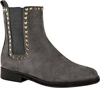 Fashion Thirsty Womens Gold Stud Flat Chelsea Ankle Boots Low Heel Pull On Punk